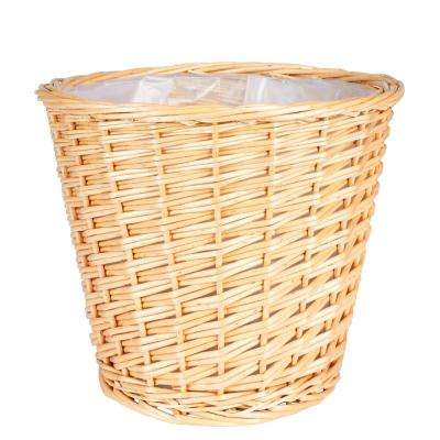 Medium Willow Waste Basket with Liner/Natural