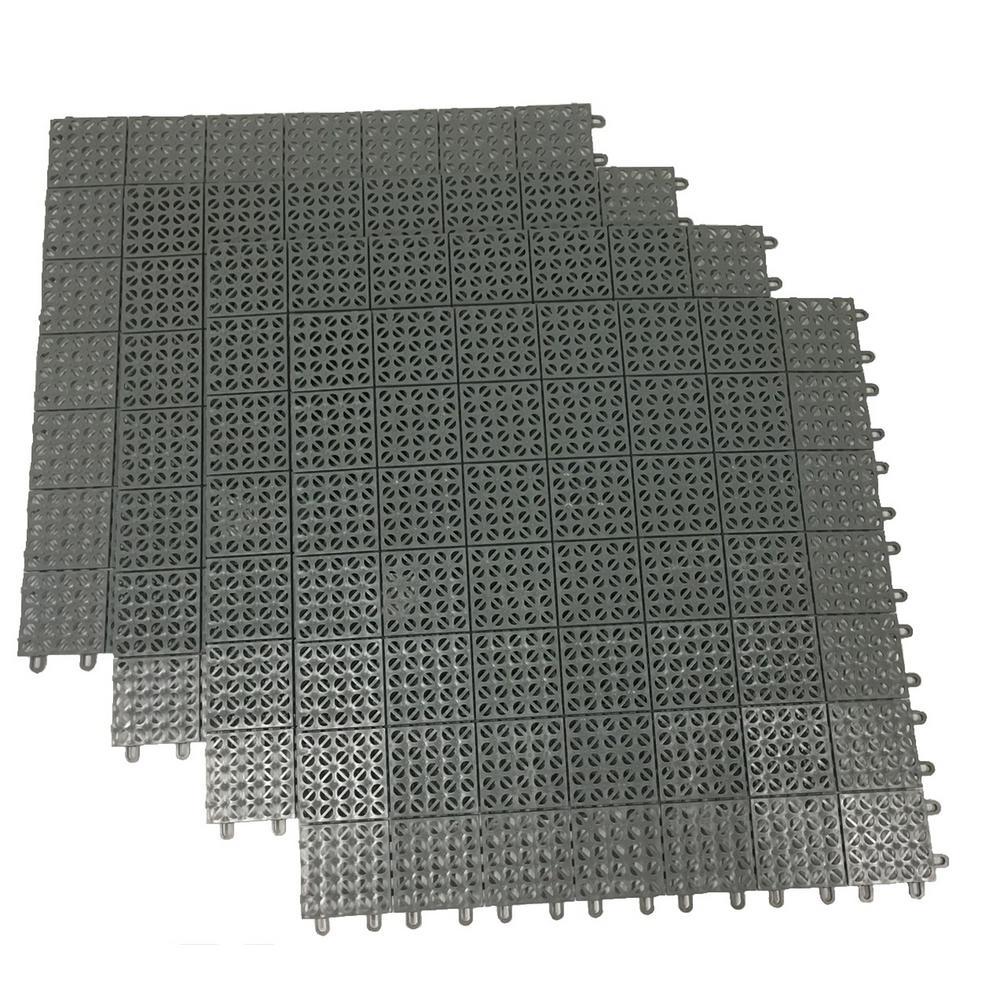 Gray Regenerated 22 in. x 22 in. Polypropylene Interlocking Floor Mat System (Set of 4 Tiles)
