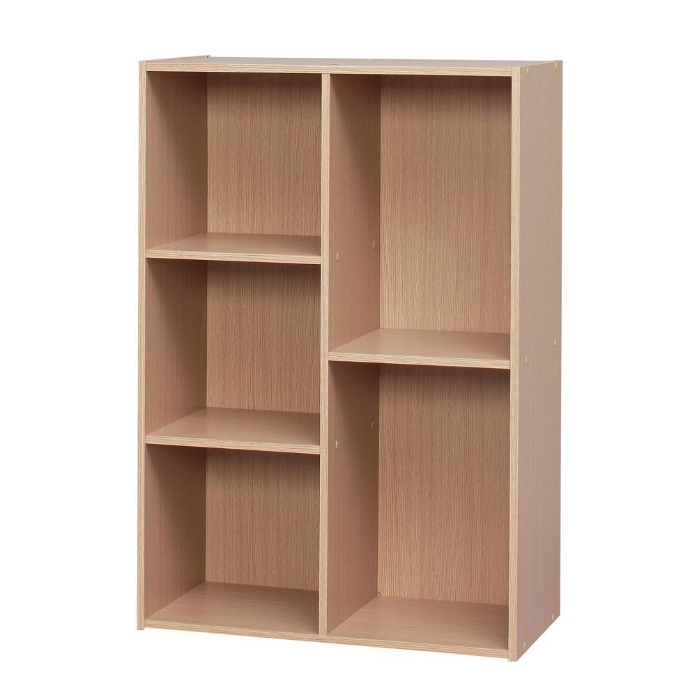 Light Brown 5-Compartment Wood Organizer Bookcase Storage Shelf