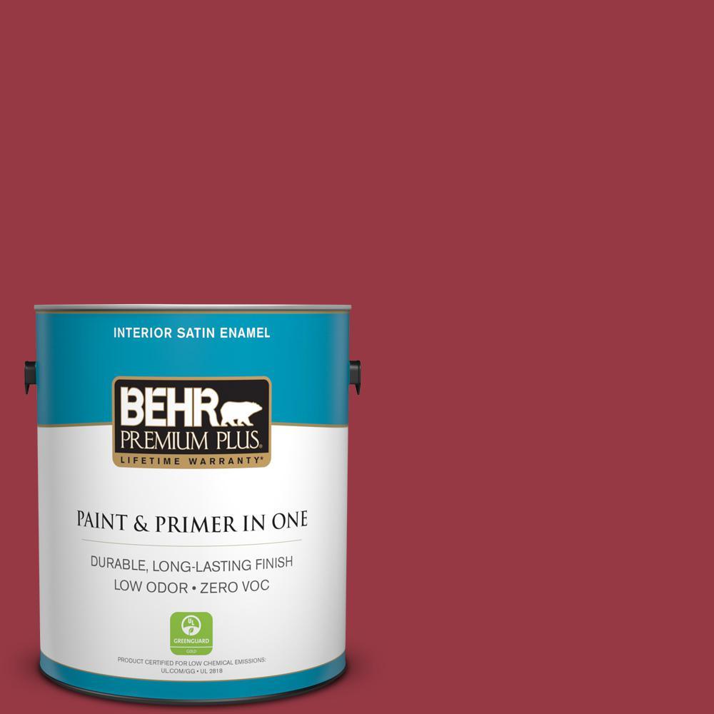 BEHR Premium Plus 1-gal. #140D-7 Classic Cherry Zero VOC Satin Enamel Interior Paint