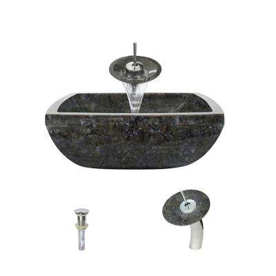 Stone Vessel Sink in Butterfly Blue Granite with Waterfall Faucet and Pop-Up Drain in Chrome