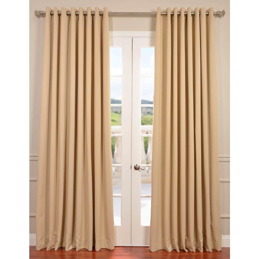 Semi-Opaque Biscotti Beige Grommet Doublewide Blackout Curtain - 100 in. W x 96 in. L (1 Panel)