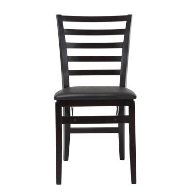 Contoured Back Espresso Wood Folding Chairs with Vinyl Seat (Set of 2)