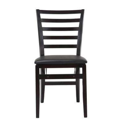 Espresso Vinyl Seat With Contoured Back Folding Chair (Set of 2)