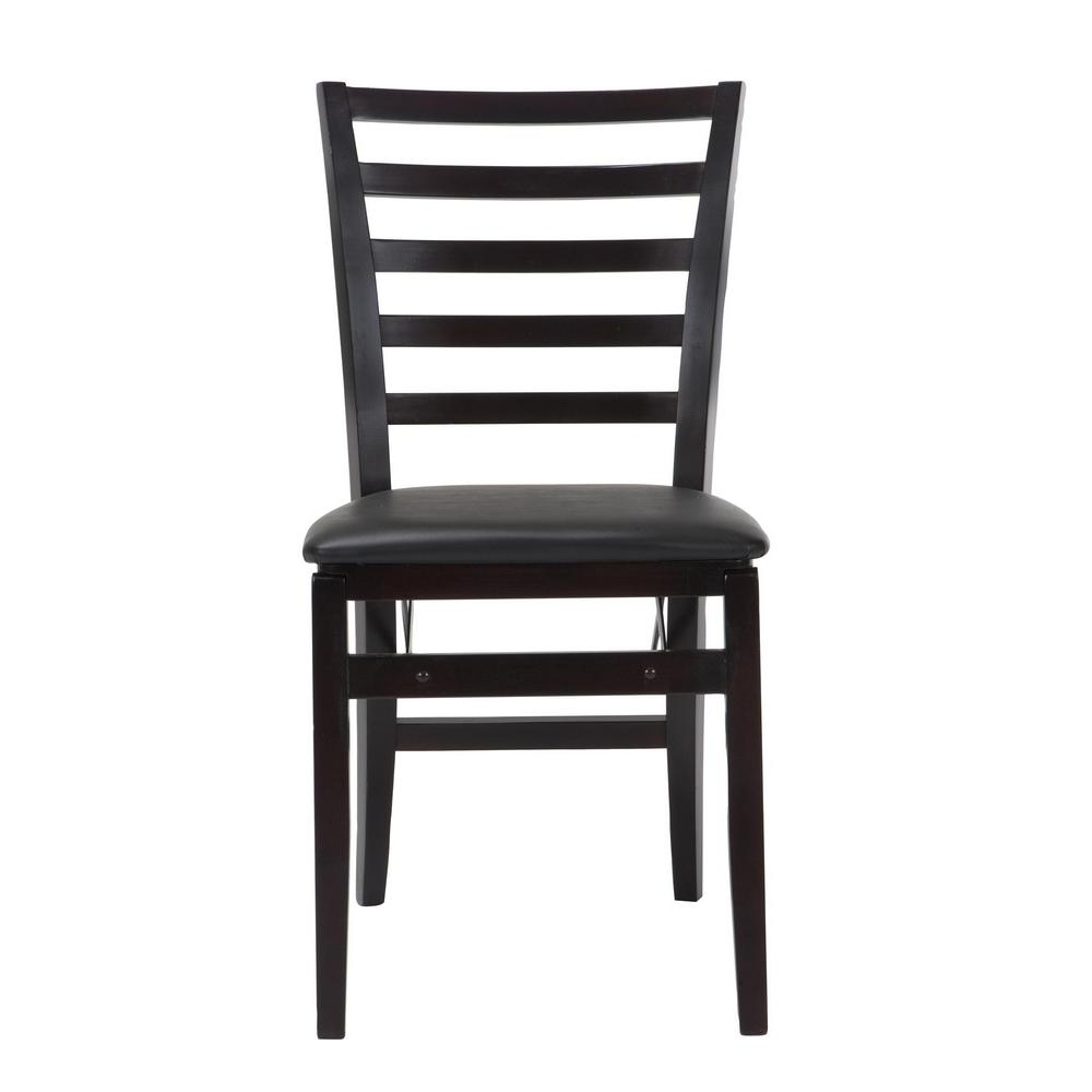 Cosco Contoured Back Espresso Wood Folding Chairs With Vinyl Seat Set Of 2