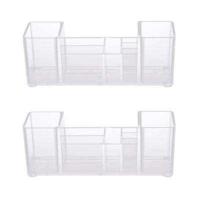 Bathroom Vanity Organizer, 8 Compartments, Clear (Set of 2)