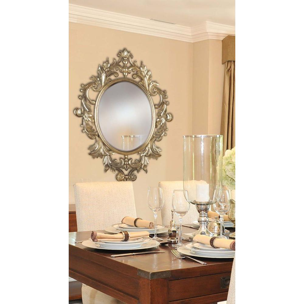 Manor Brook Ella 38 in. x 28 in. Oval Polyurethane Framed Mirror