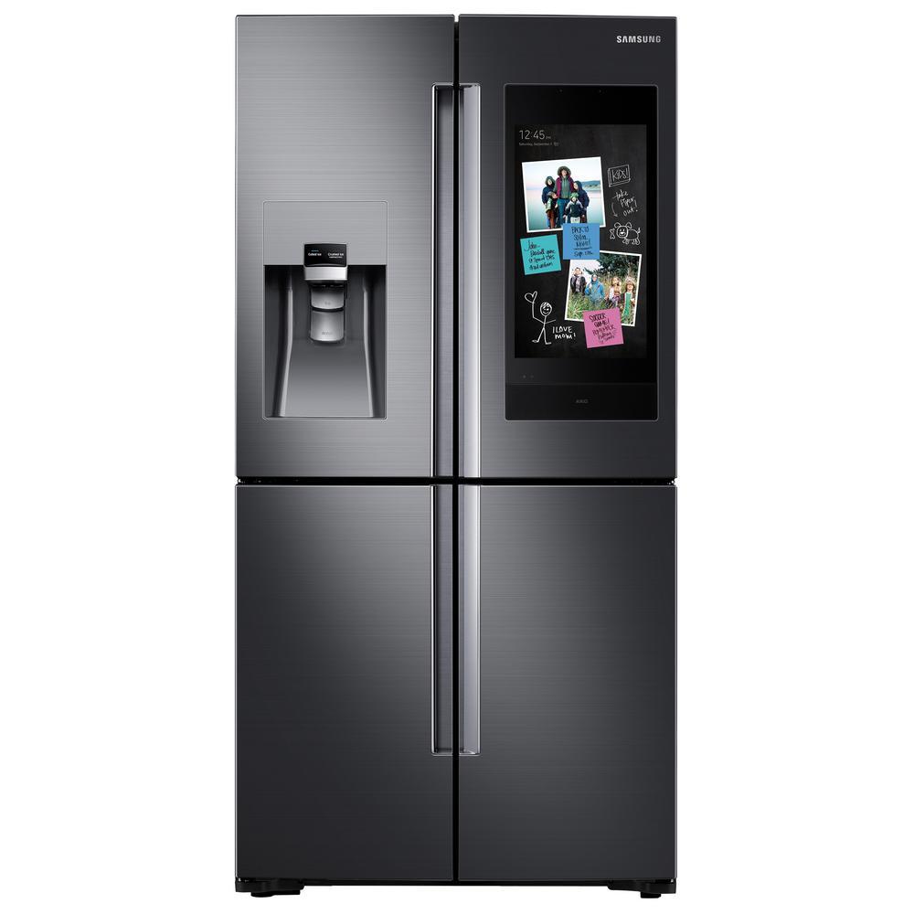 Samsung 22 cu. ft. Family Hub 4-Door FrenchDoor Smart Refrigerator in Fingerprint Resistant Black Stainless, Counter Depth