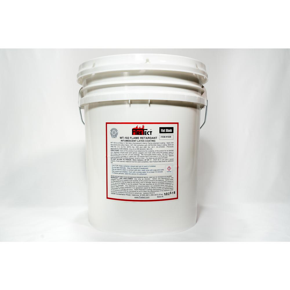 Firetect WT-102 5 gal. Black Flat Latex Intumescent Fireproofing Flame Retardant Paint Coating for Wood