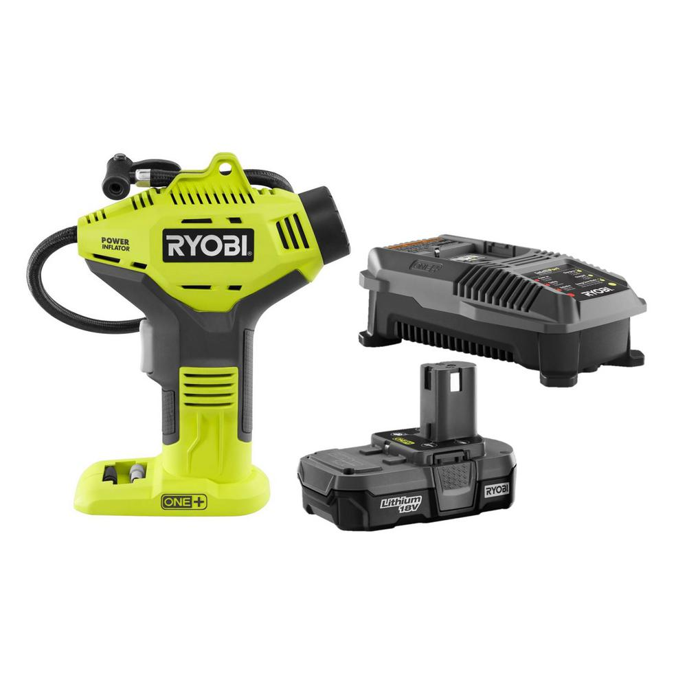 RYOBI 18-Volt ONE+ Lithium-Ion Cordless Power Inflator Kit with 1.3 Ah Battery and 18-Volt Charger