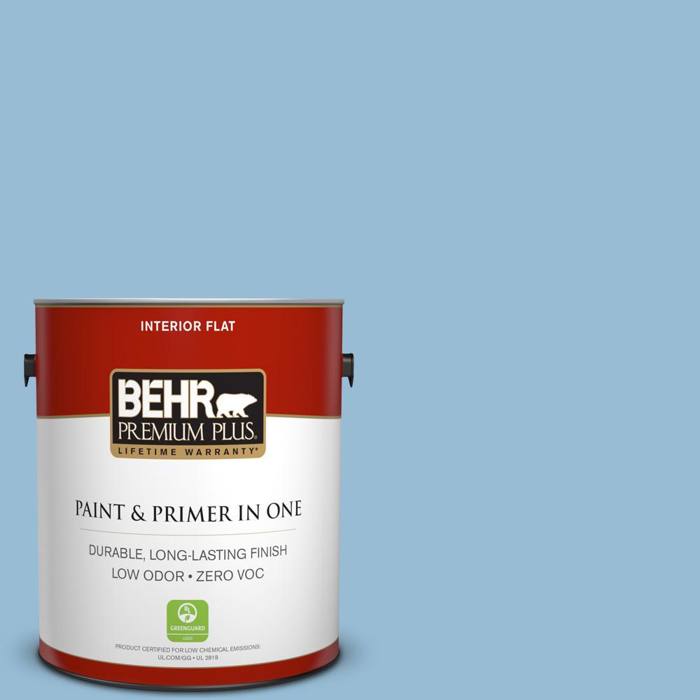 1 gal. #PPU14-11 Gentle Sky Zero VOC Flat Interior Paint