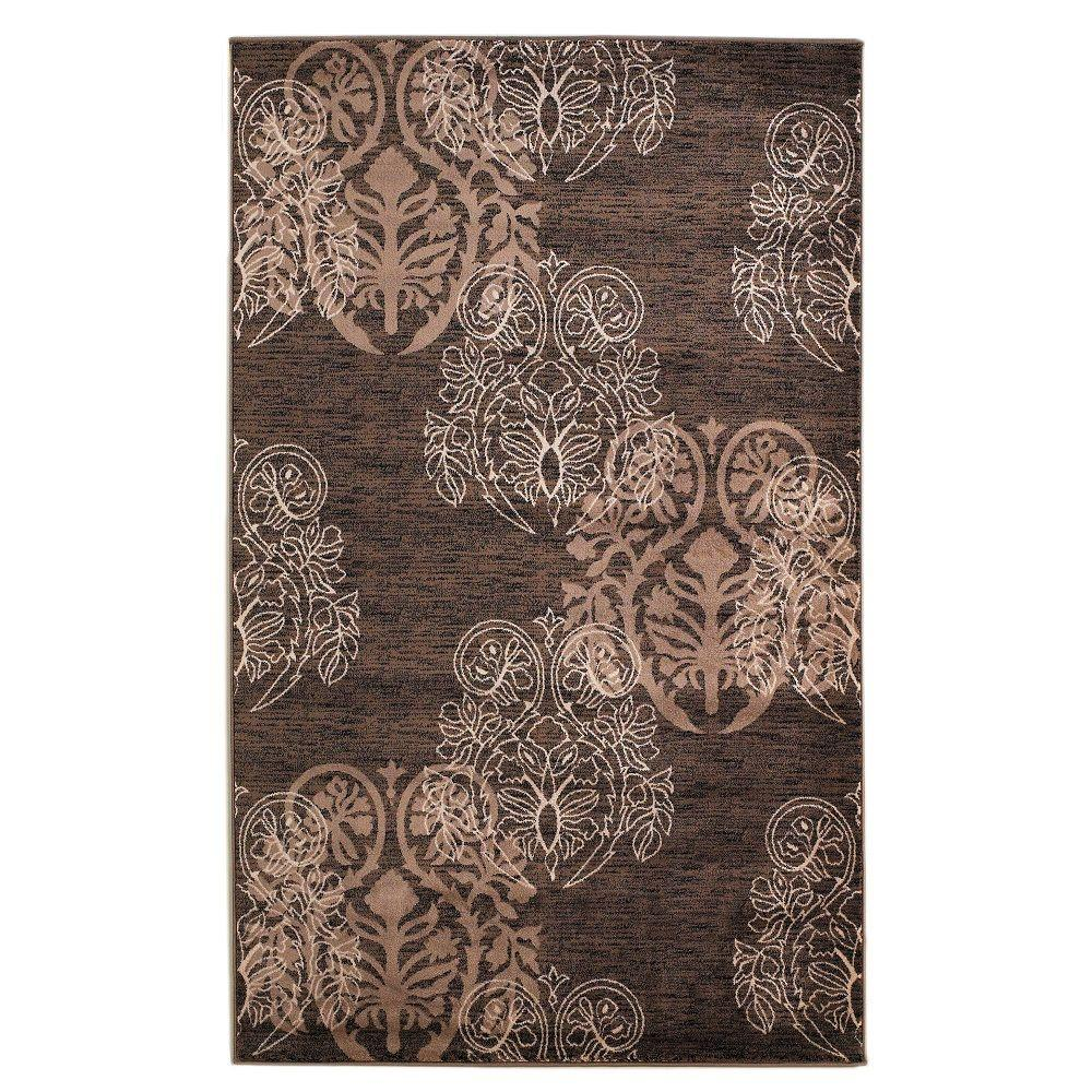 Linon home decor milan collection brown and beige 1 ft 10 in x 2 ft 10 in indoor area rug - Rugs and home decor decor ...