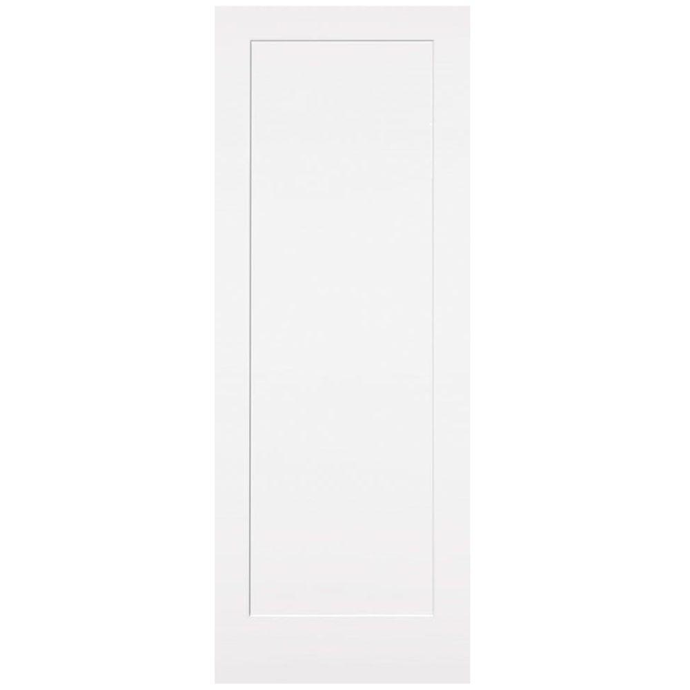 Masonite 36 In X 84 In Primed 1 Panel Shaker Flat Panel Solid Wood Interior Barn Door Slab