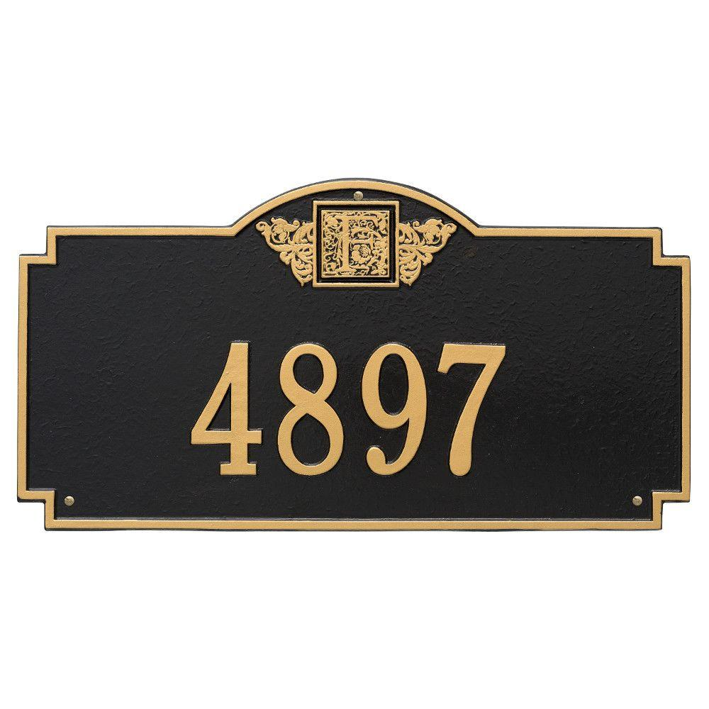 Rectangular Monogram Estate Wall 1-Line Address Plaque - Black/Gold