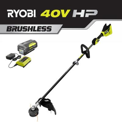 40-Volt HP Brushless Lithium-Ion Cordless Carbon Fiber Shaft Attachment Capable String Trimmer 4.0 Ah Battery & Charger