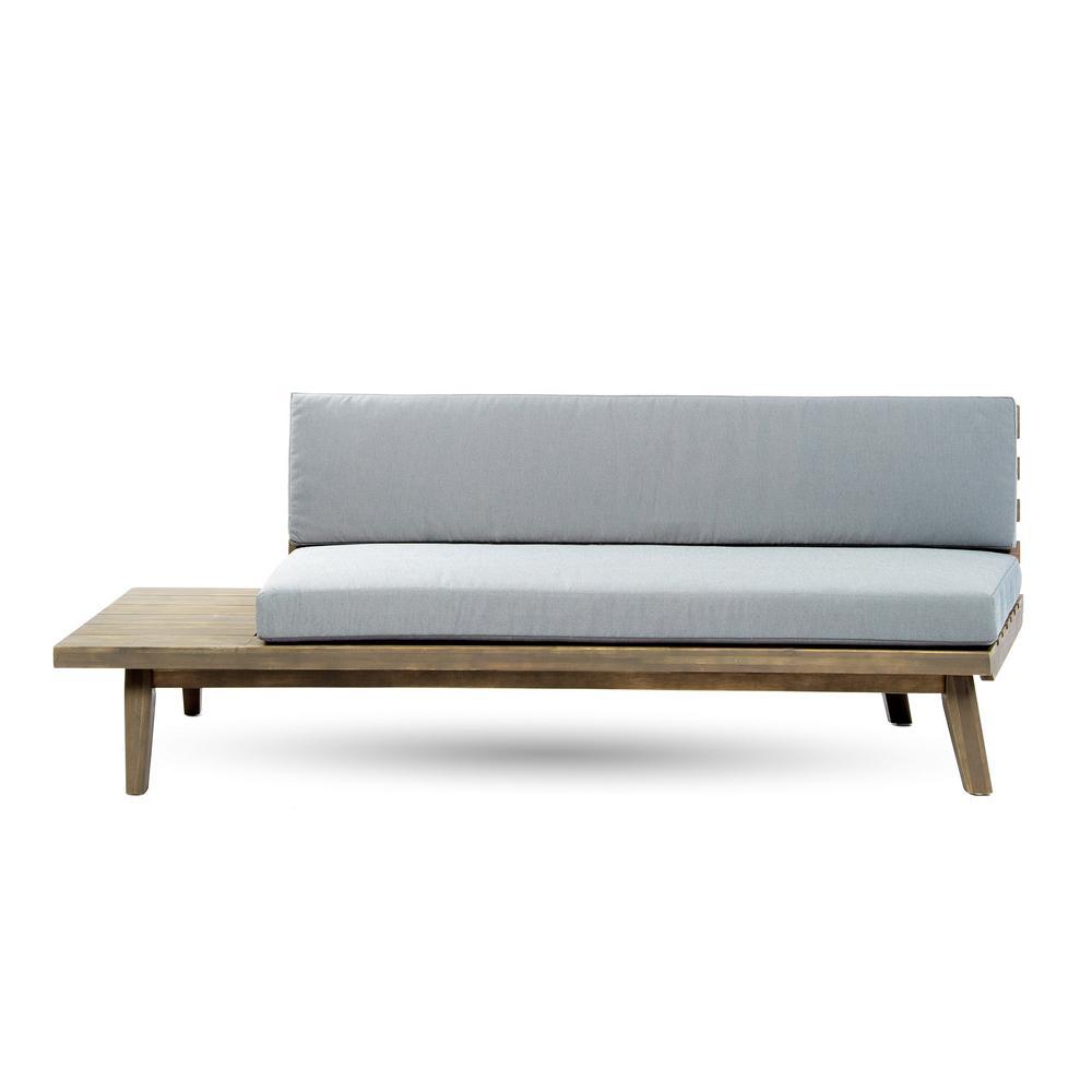 Reginald Grey Wood Outdoor Left Sided Sofa with Grey Cushion