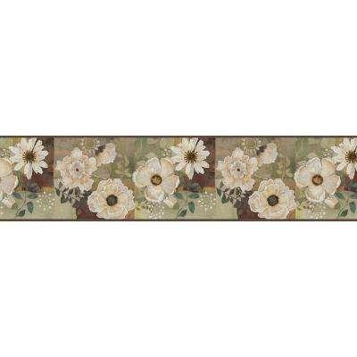 Septimus Olive Gardenia Wallpaper Border Sample