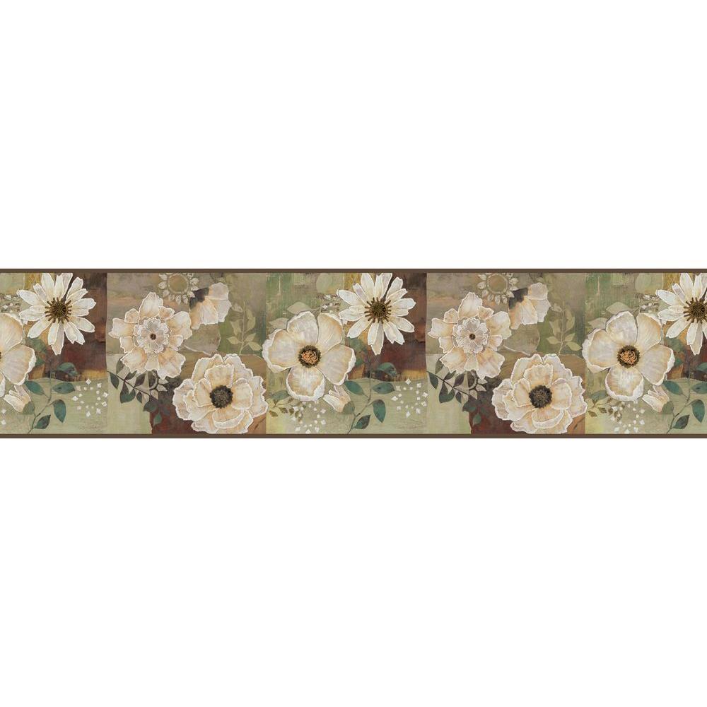 Chesapeake Septimus Olive Gardenia Wallpaper Border Sample Mea79203bsam The Home Depot