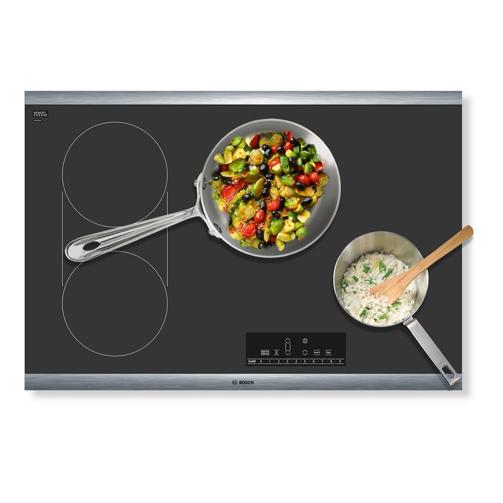 Black with Stainless Steel Frame NET8068SUC Bosch 800 Series 30 Touch Control Electric Cooktop
