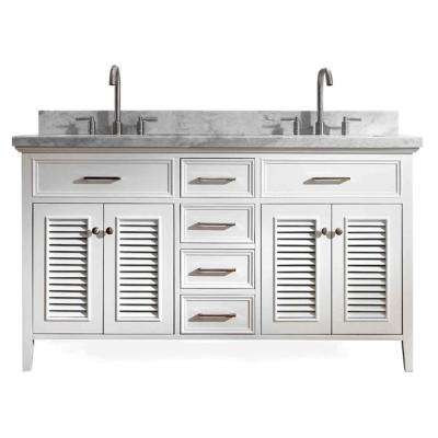 Kensington 61 in. Vanity in White with Marble Vanity Top in Carrara White with White Basin