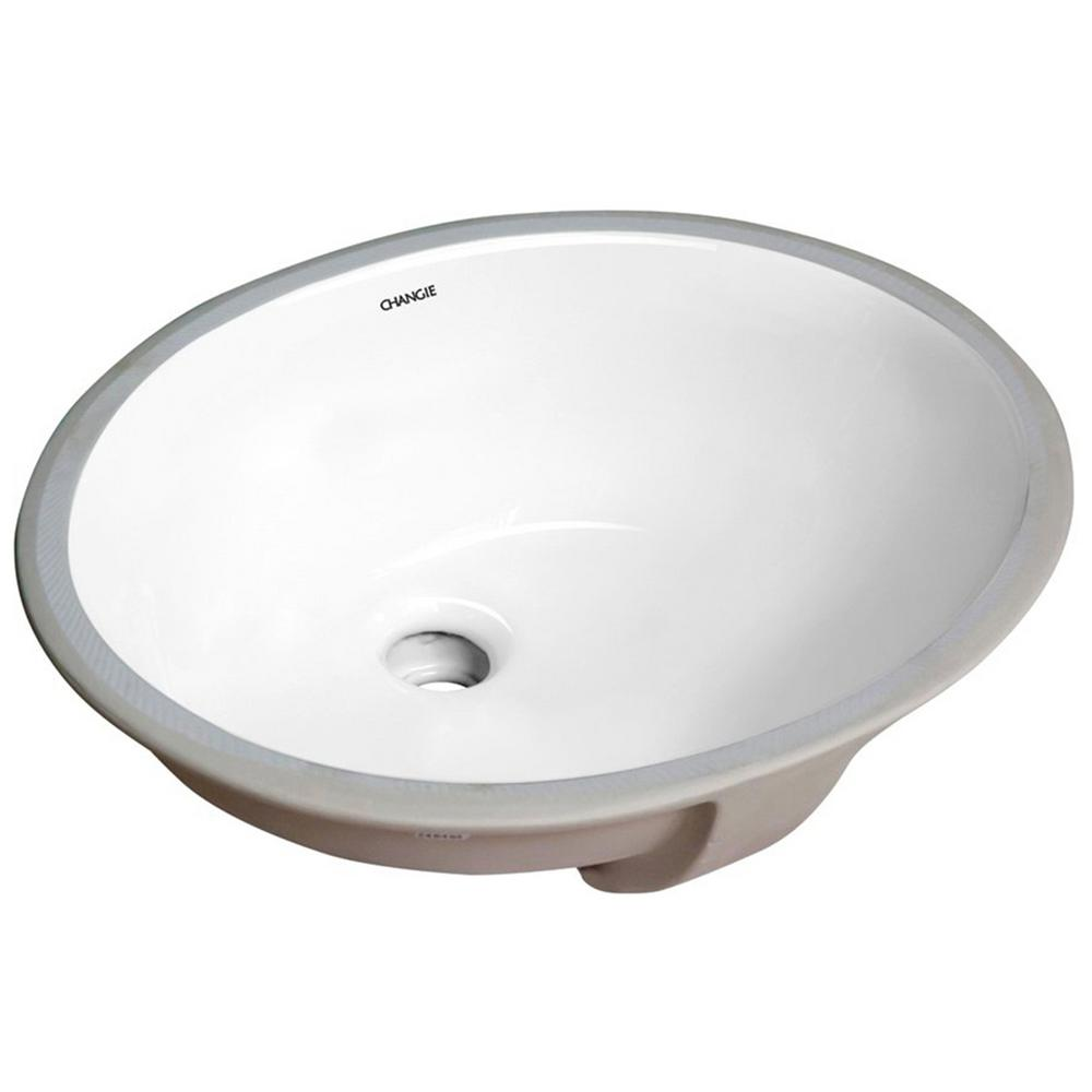 13 in. x 11 in. Bathroom Ceramic Sink Oval Lavatory Undercounter in White,