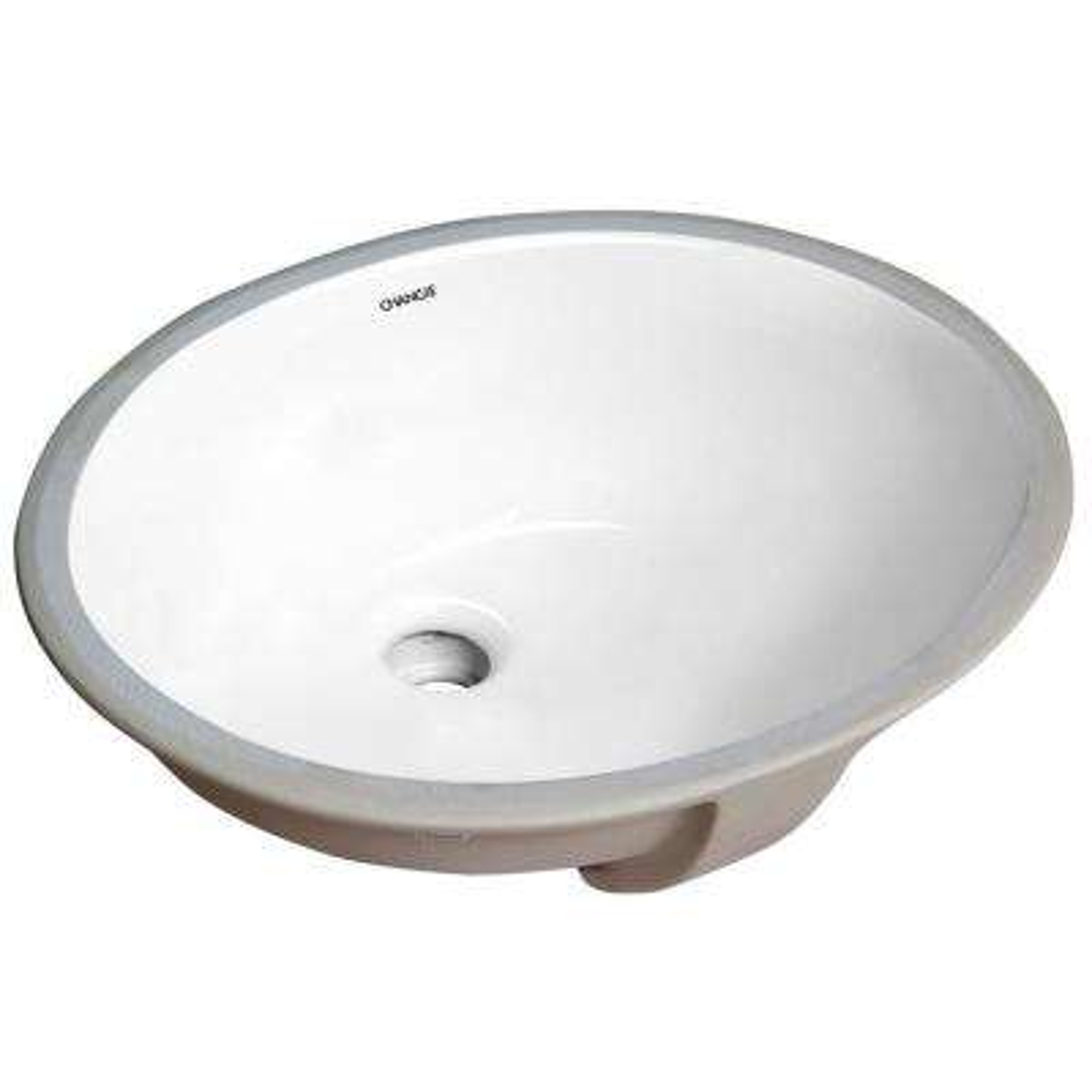 13 in. x 11 in. Bathroom Ceramic Sink Oval Lavatory Undercounter in White,