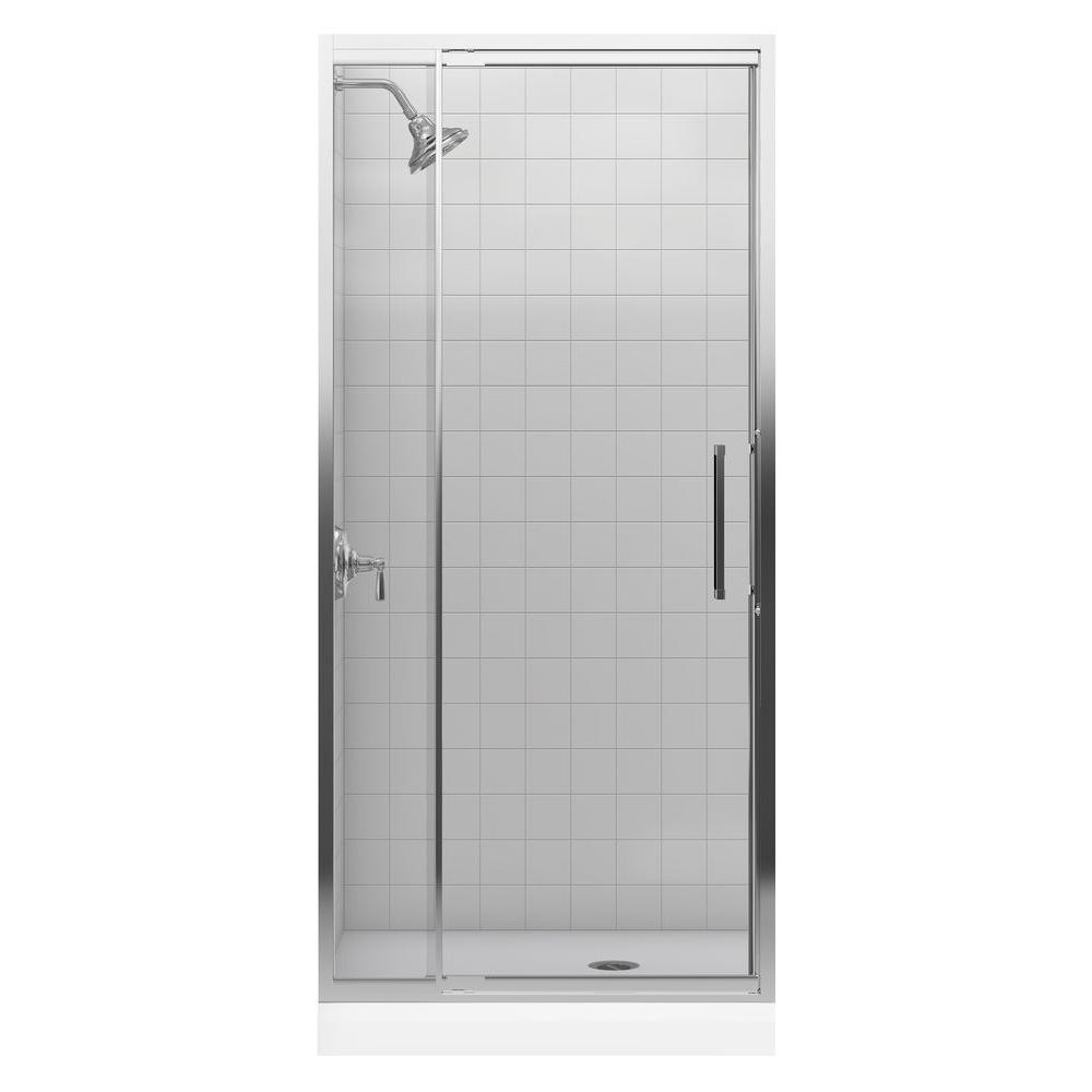 KOHLER Lattis 36 in. x 76 in. Framed Pivot Shower Door in Bright Silver with Handle