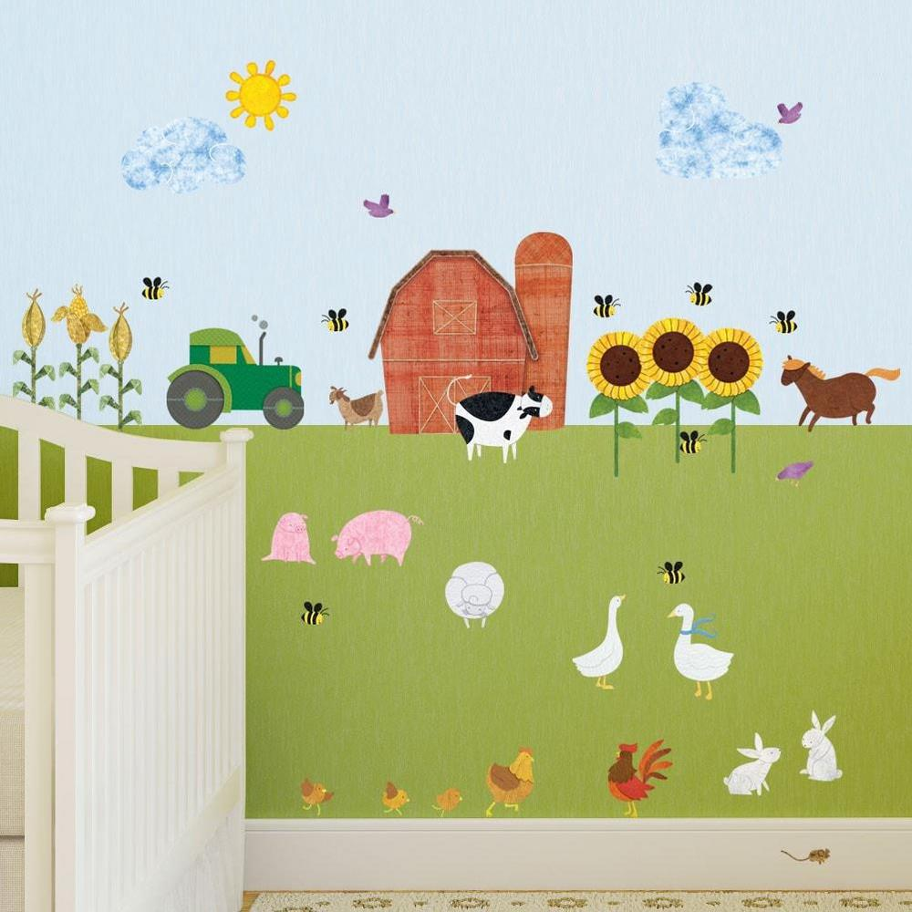 My Wonderful Walls Farm Multi Peel And Stick Removable Wall Decals Barnyard Theme Mural 38 Piece Set 1248 17 The Home Depot