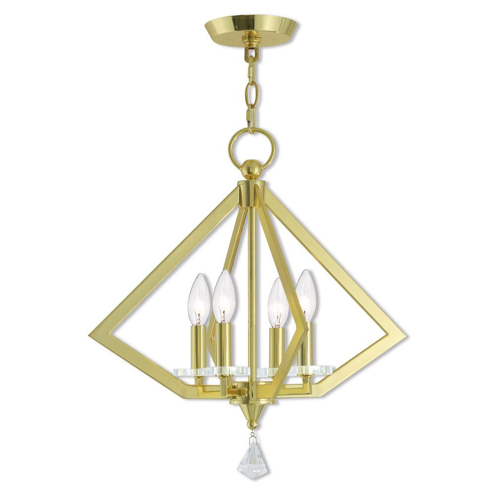 Livex Lighting Diamond 4-Light Polished Brass Mini Chandelier with Clear Crystal Accents