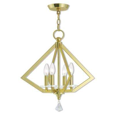 Diamond 4-Light Polished Brass Mini Chandelier with Clear Crystal Accents