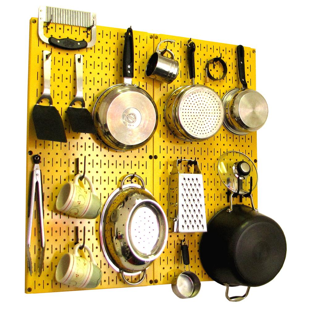 Wall Control Kitchen Pegboard 32 In X 32 In Metal Peg Board Pantry Organizer Kitchen Pot Rack Yellow Pegboard And Black Peg Hooks 31 Kth 210 Yb The Home Depot