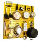Wall Control Kitchen Pegboard 32 in. x 32 in. Metal Peg Board Pantry Organizer Kitchen Pot Rack Yellow Pegboard and Black Peg Hooks