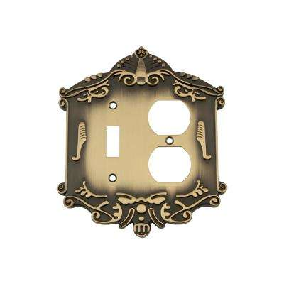 Victorian Switch Plate with Toggle and Outlet in Antique Brass