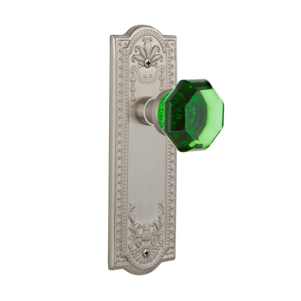 Meadows Plate 2-3/8 in. Backset Satin Nickel Passage Waldorf Emerald Door