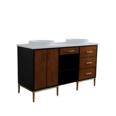61 in. W x 22 in. D Double Bath Vanity in Walnut and Black with Quartz Vanity Top in White with White Round Basins