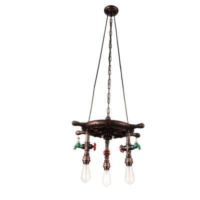 Manor 3-Light Speckled copper Chandelier