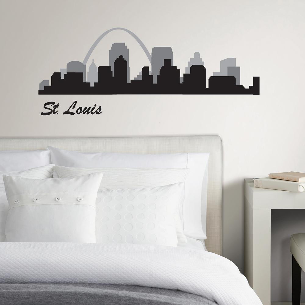 Wall Pops St. Louis Black Cityscape Wall Art Kit Step through the Gateway Arch into this St. Louis skyline wall decal. The black and grey design features all of the city's most iconic buildings. St Louis Cityscape Wall Art Kit contains 7-pieces on 1-sheet that measure 17.5 in. x 24 in.