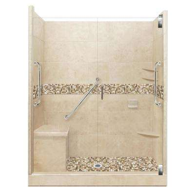 Roma Freedom Grand Hinged 36 in. x 60 in. x 80 in. Center Drain Alcove Shower Kit in Brown Sugar and Satin Nickel