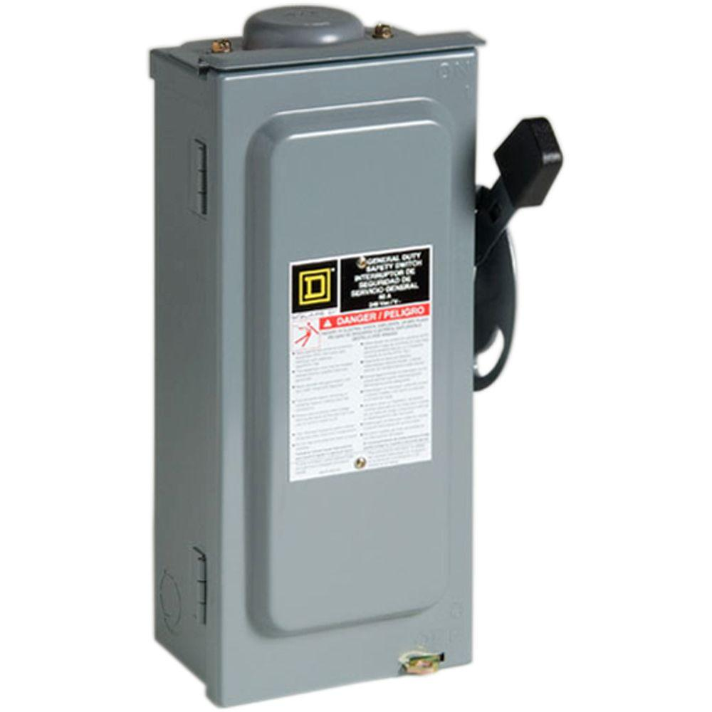 Square D by Schneider Electric 60 Amp 240-Volt 2-Pole 3-Phase Fused ...