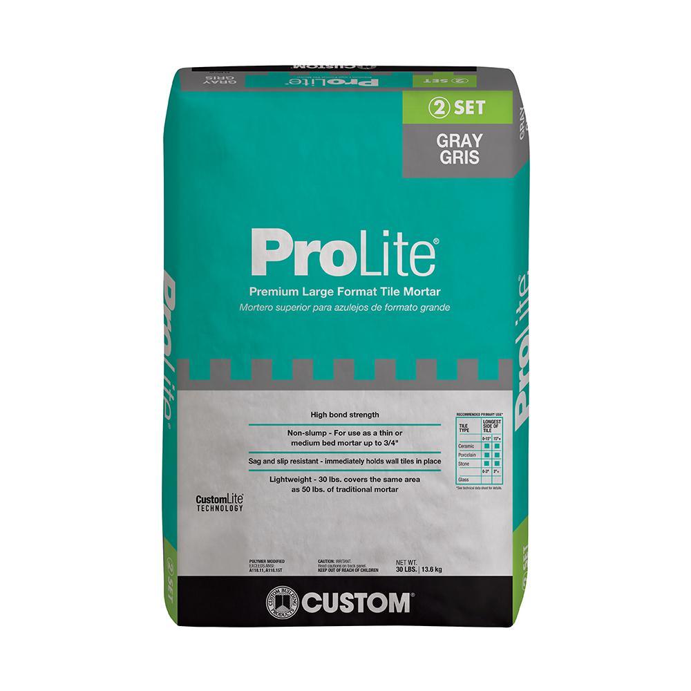prolite 30 lb gray tile and stone mortar