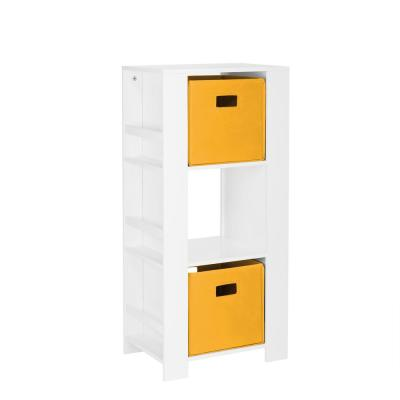 Kids White Cubby Storage Tower with Bookshelves with 2-Piece Golden Yellow Bins