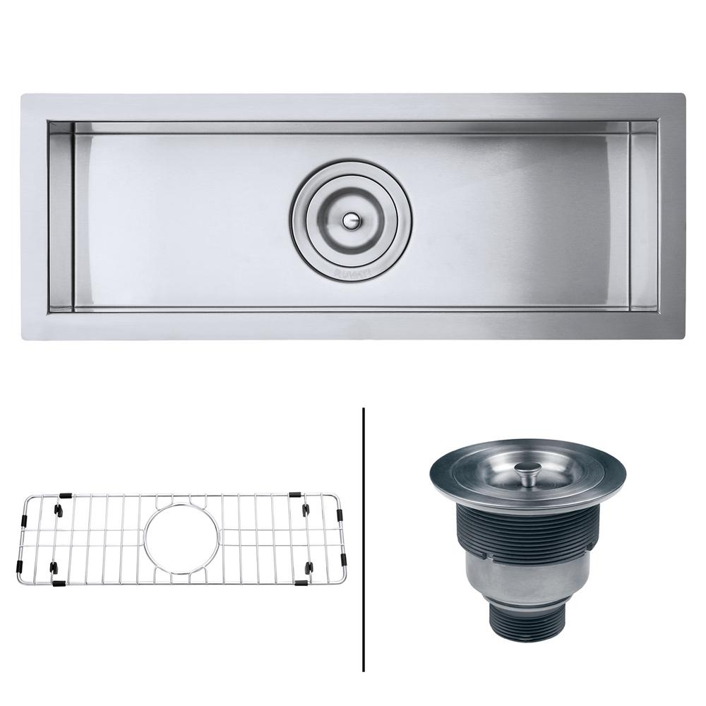 Attractive Ruvati Undermount Stainless Steel 23 In. W 16 Gauge Narrow Bar Trough  Single Bowl