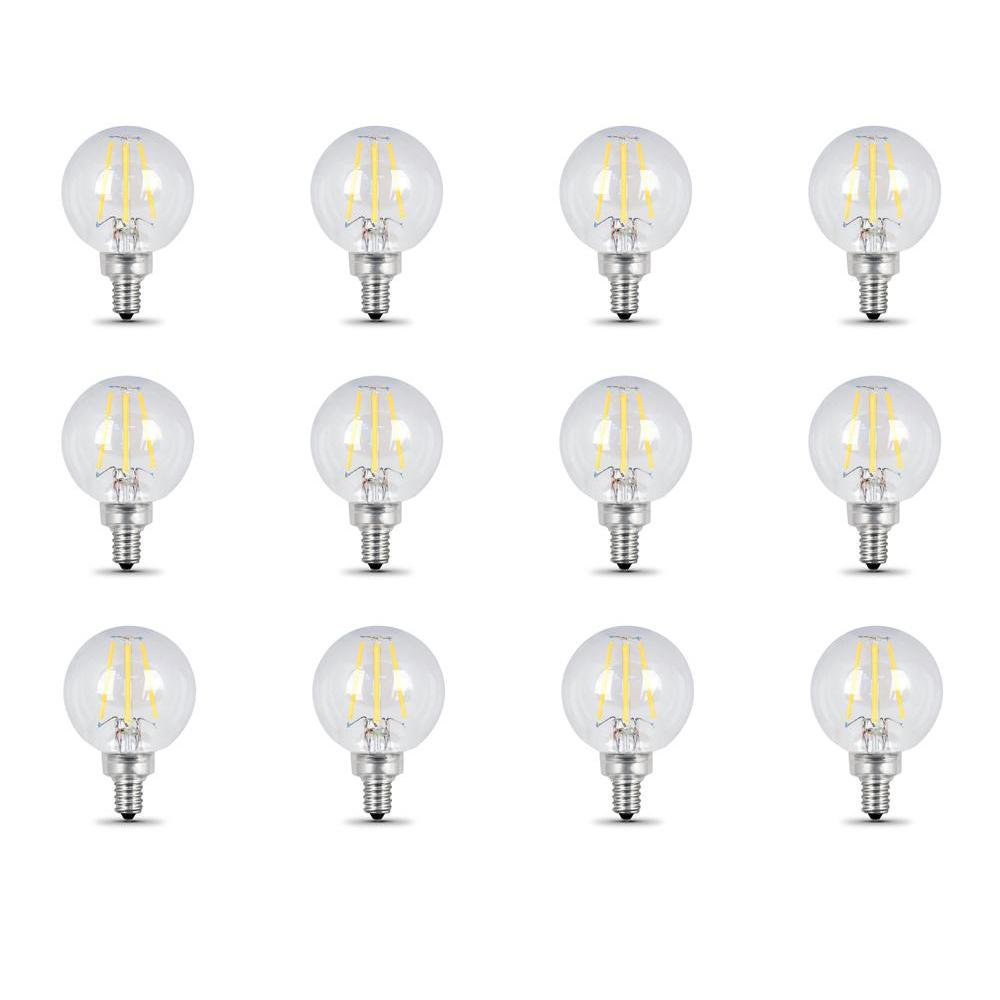 40-Watt Equivalent (2700K) G16.5 Candelabra Dimmable Filament LED Clear Glass