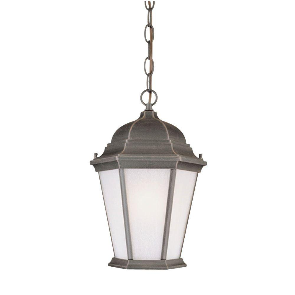 Westinghouse 1 Light Rust On Cast Aluminum Exterior Pendant With Frosted Seeded Glass Panels