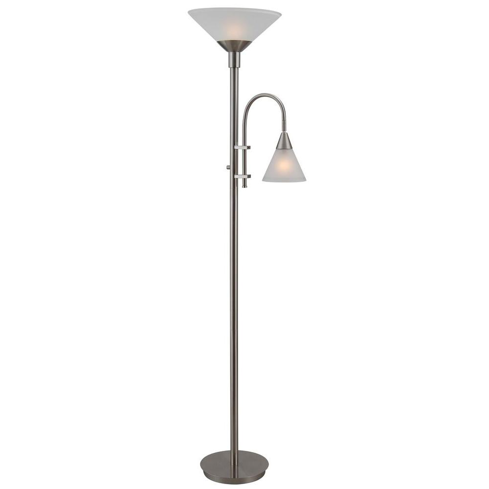 Brady 72 in. Brushed Steel Torchiere with Reading Arm