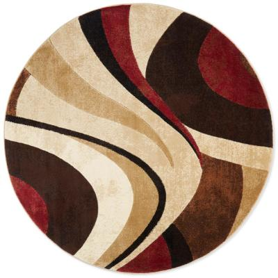 Tribeca Brown/Red 7 ft. 10 in. Round Indoor Rug