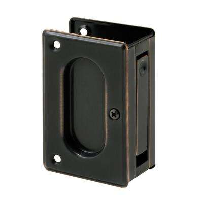 3 3/4 in. x 2 1/2 in., Solid Brass with Classic Bronze Finish, Pocket Door Passage Pull