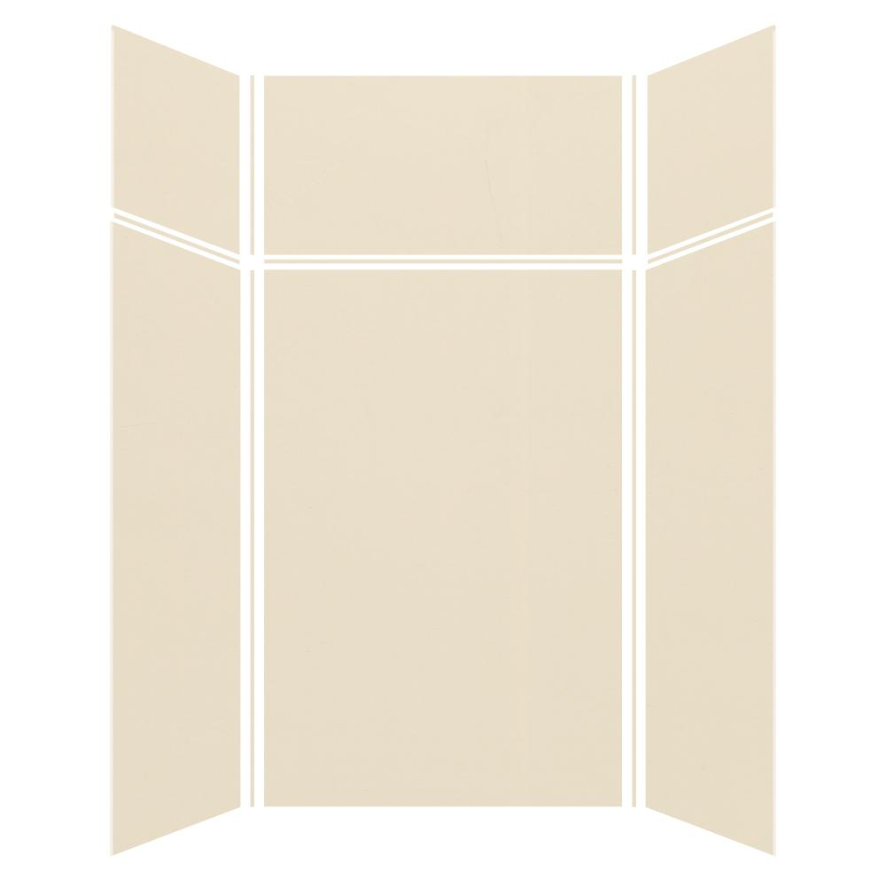 Transolid Expressions 48 In X 48 In X 96 In 4 Piece Easy Up Adhesive Alcove Shower Wall Surround In Bisque Ewkx484896 38 The Home Depot