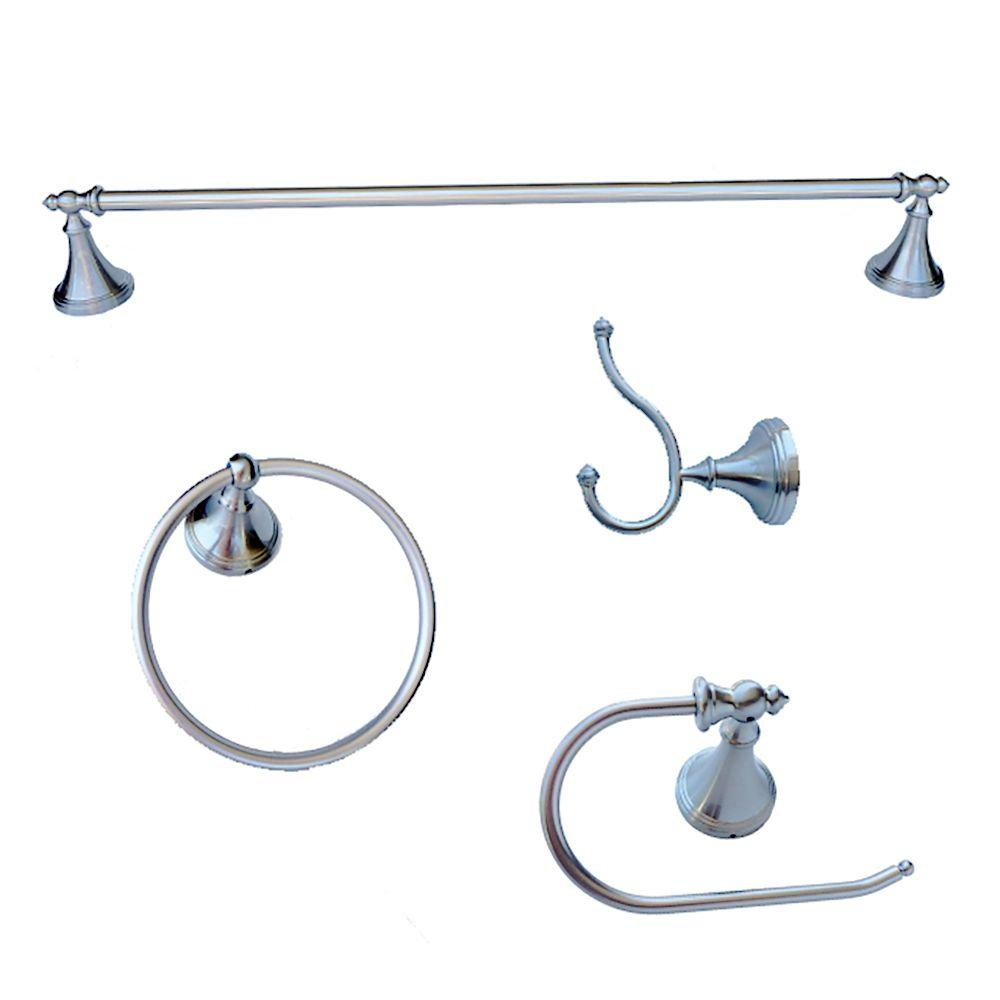 Annchester Collection 4-Piece Bathroom Accessory Kit in Chrome