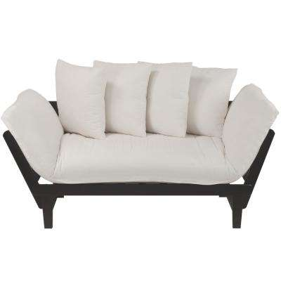 Casual Espresso Frame/Ivory Fabric Cover Lounger Sofa Bed